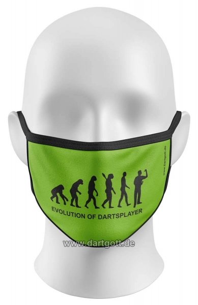 Mund- Nasen- Maske - Evolution of Dartsplayer - grün schwarz